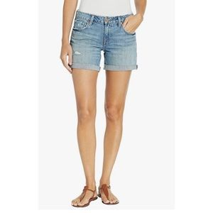 Lucky Brand Mid Rise Distressed Roll Up Shorts